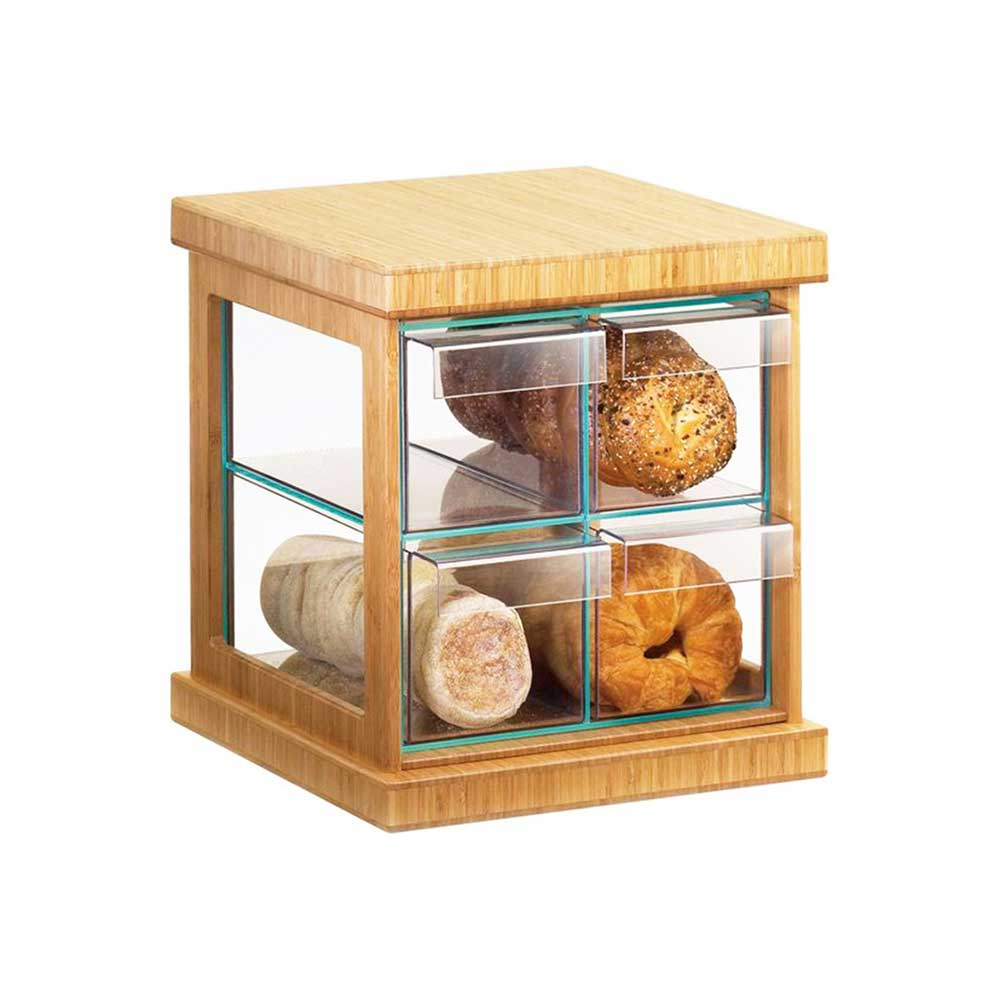 Flip over Clear Acrylic Cake Boxes Bakery Display Case bread Display Box with wood