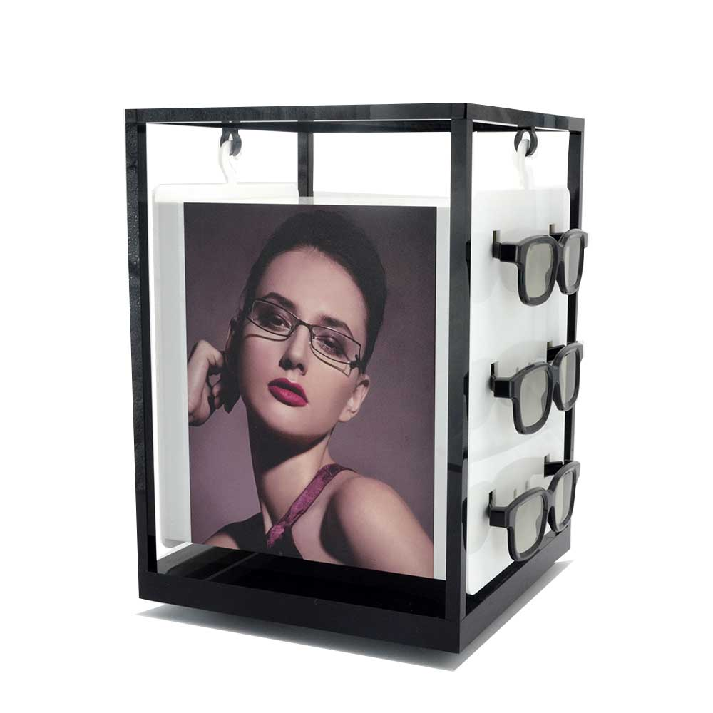 custom countertop stand for sunglasses acrylic eyeglasses display shelf with Turntable 25144
