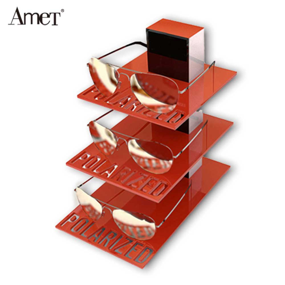 Red Acrylic Glasses Display Rack And Display Cabinet For Shopping Mall Display 7710