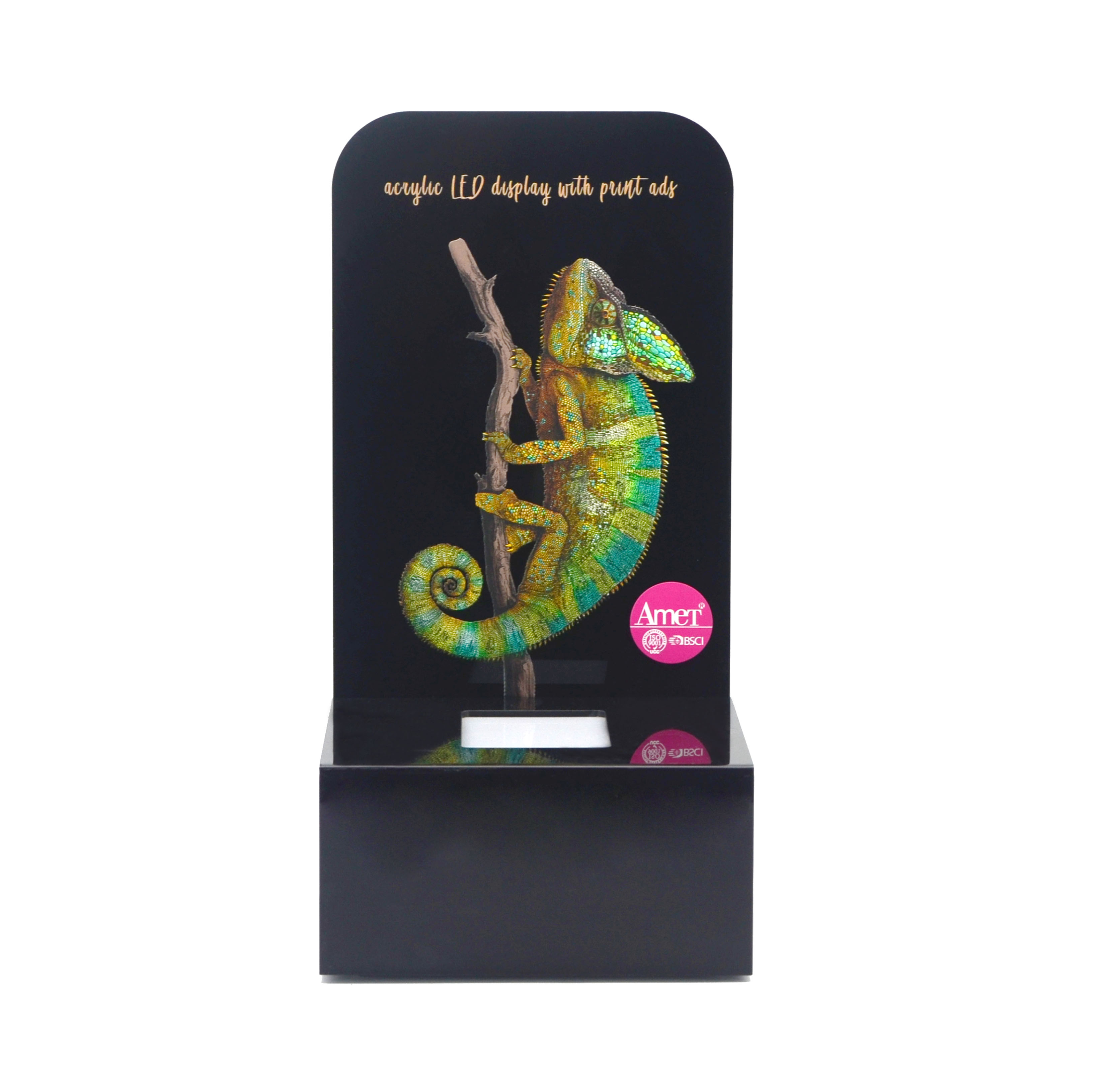 HD printing Custom LED Makeup Counter Top Display Stands for perfume advertising