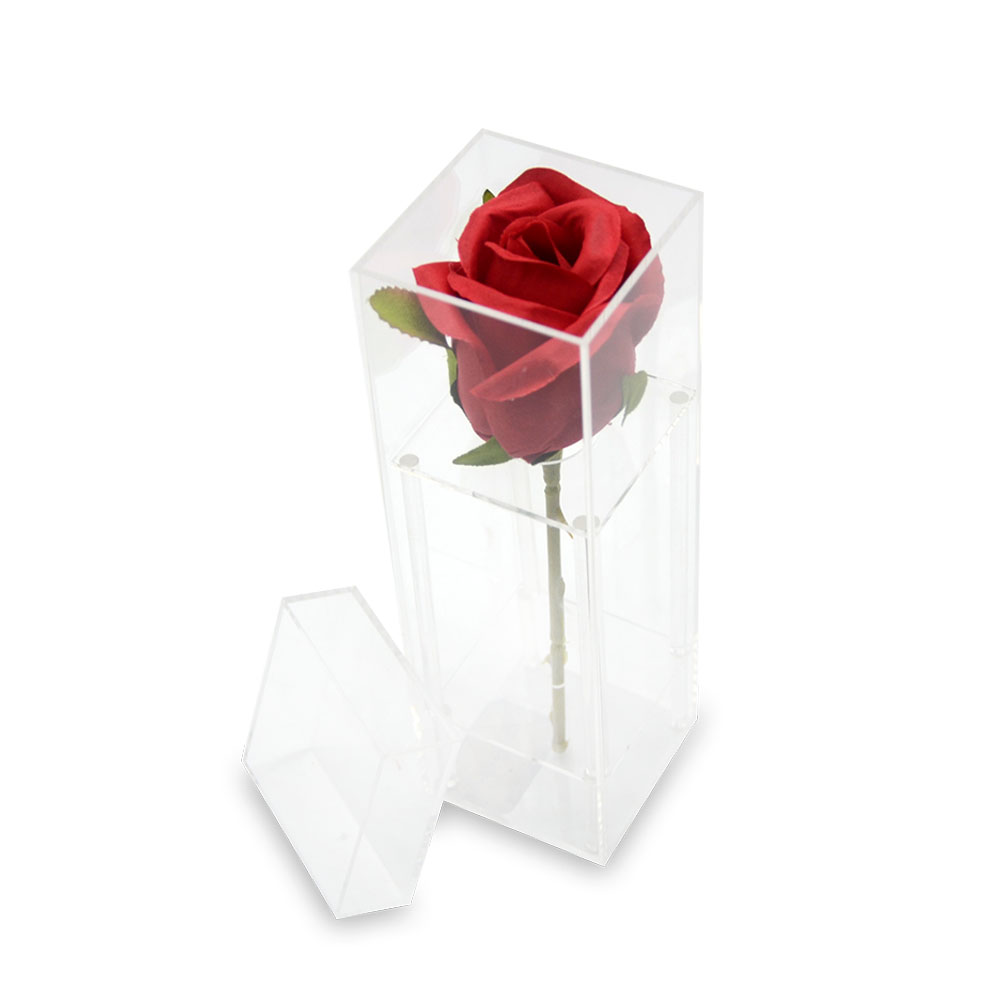 Square Pink and Clear Acrylic Gift Box With Pulling lid 3222