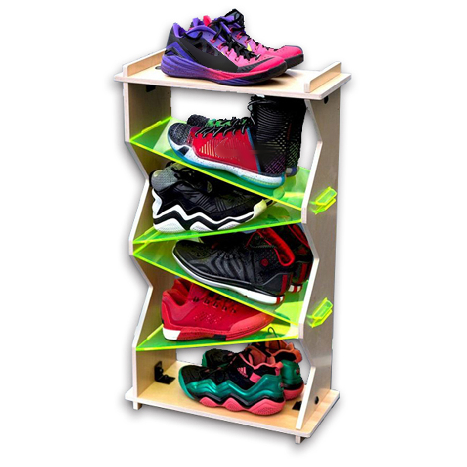 Acrylic Multi Pair Casual Shoes Display Stand