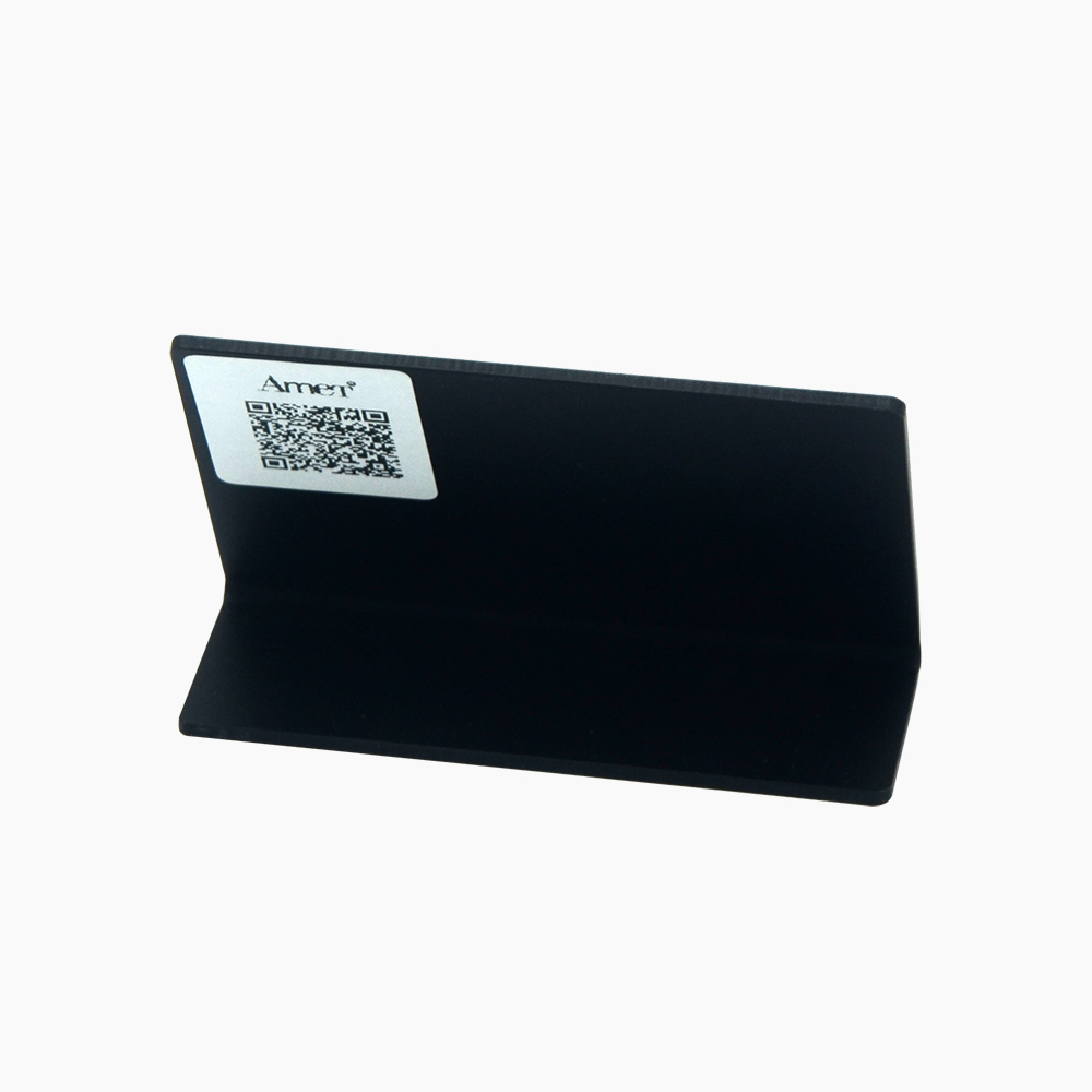 Black acrylic L-shaped popular logo Display board
