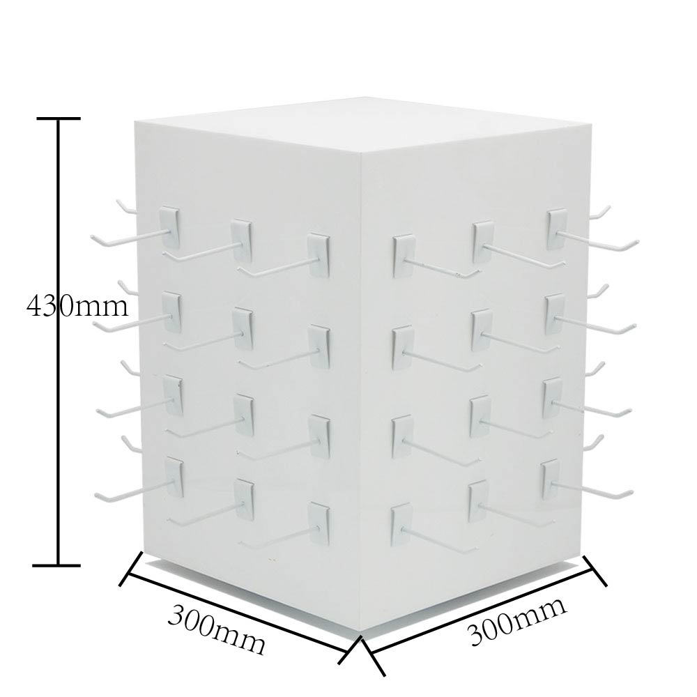 Rotating Square Acrylic Display Rack With Hook For Product Boxes