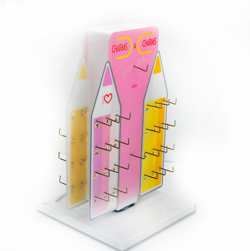 Fashion Metal Hook Display Custom Display Screen Printing Acrylic Display Rack