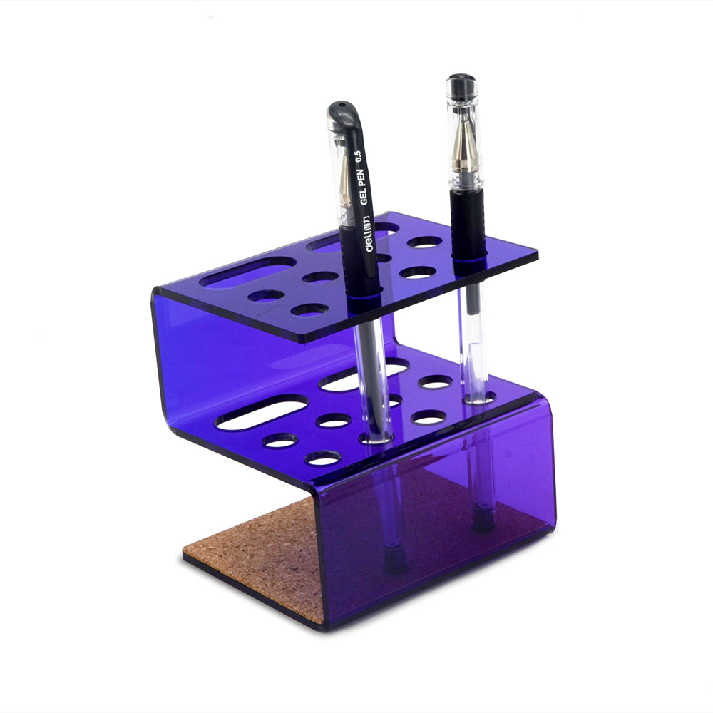 New Pattern Customized Transparent Color Acrylic Pen Holder With Pad