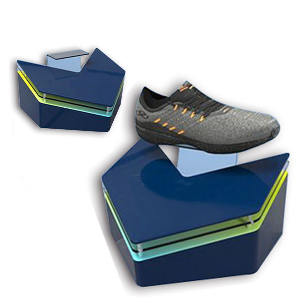Acrylic single pair casual shoes display stand