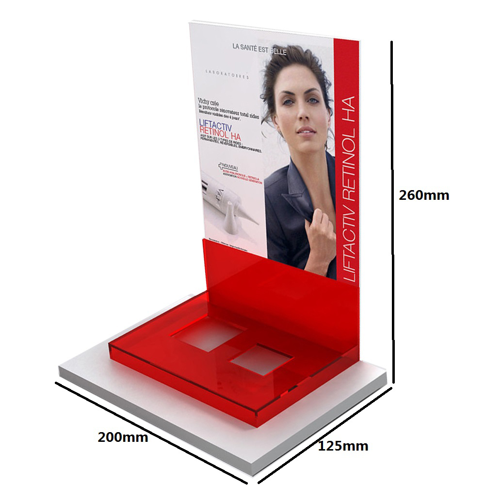 Customized Red Acrylic Women's Skin Care Products Display Rack