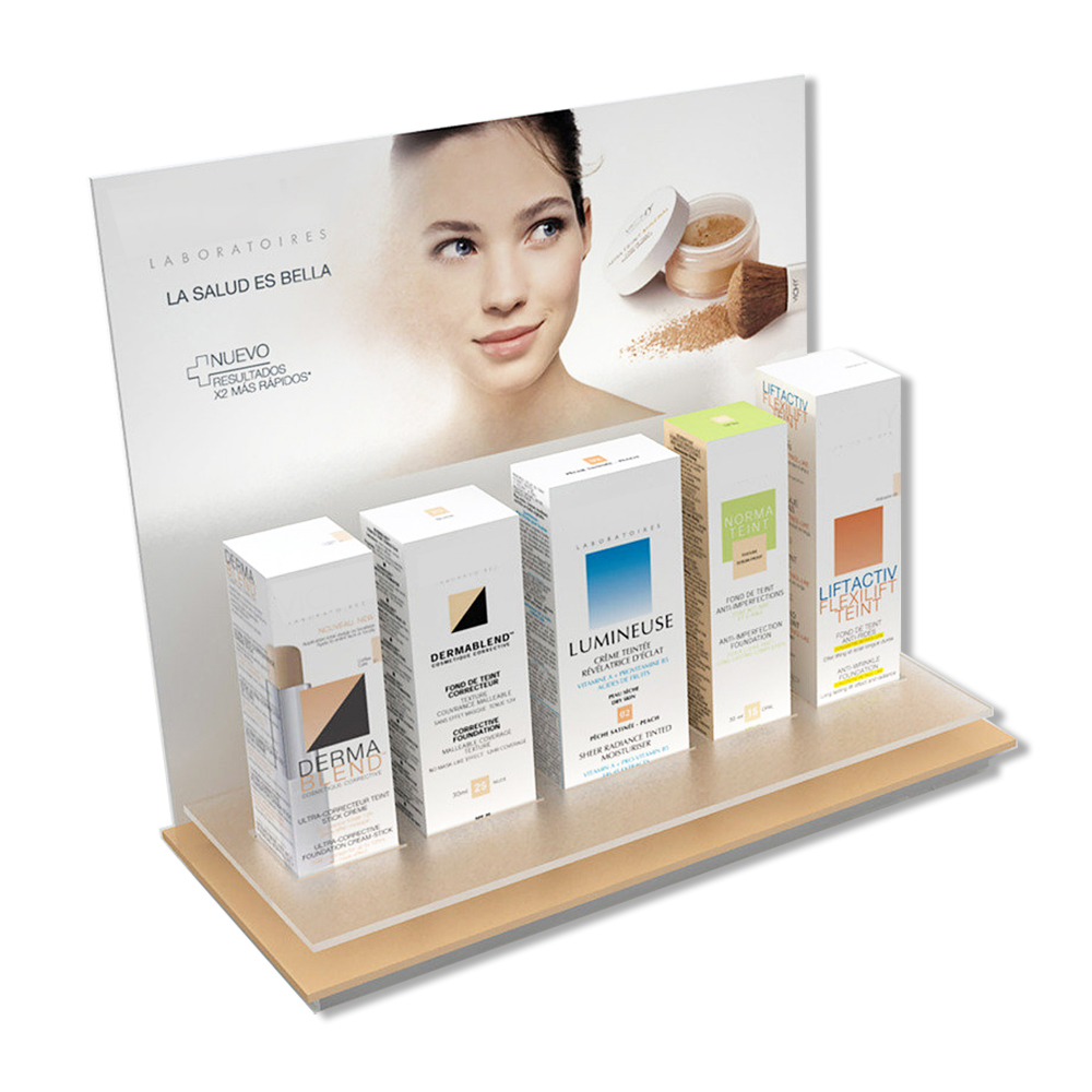 Customized Wood And Acrylic Women's Cosmetics Display Stand