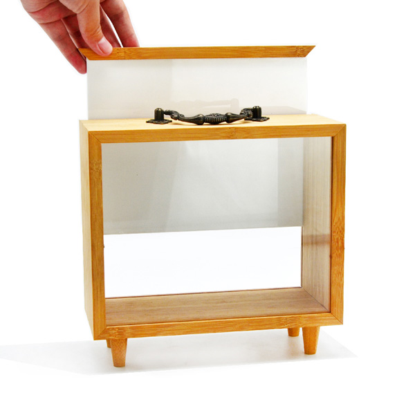 Bamboo And Acrylic Gift Box Display Box For Garage Kit